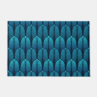 Paillasson Motif, turquoise et marine de plume d'art déco