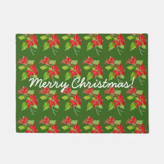 Paillasson Motif vintage de Joyeux Noël de poinsettia
