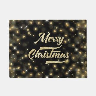 Paillasson Noir d'or de Bokeh de scintillement de Joyeux Noël