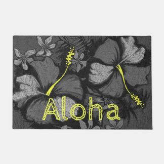 Paillasson Noir hawaïen de roche de lave de ketmie de Kahala