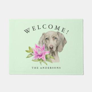 Paillasson Nom de famille de l'aquarelle   de chien et de lis