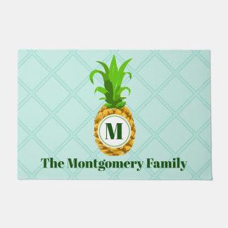 Paillasson Nom de famille tropical moderne d'ananas et de
