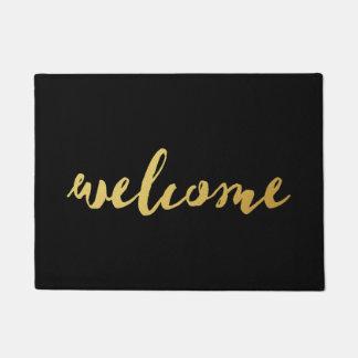 Paillasson Or bienvenu et natte noire