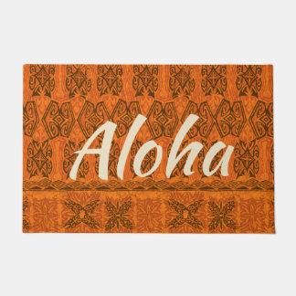 Paillasson Orange primitive hawaïenne de Tapa de plage de