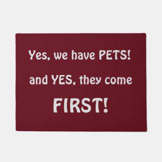 Paillasson Oui nous avons les amants drôles d'animal familier