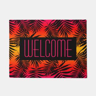 Paillasson Palmette tropicale bienvenue sur le coucher du
