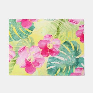 Paillasson Palmettes tropicales et fleurs roses de ketmie