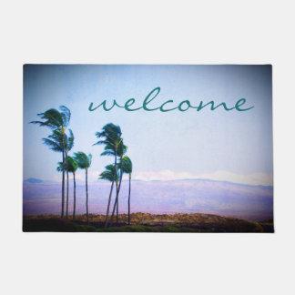 """Paillasson Palmiers d'Hawaï de """"accueil"""" et photo pourpre de"""