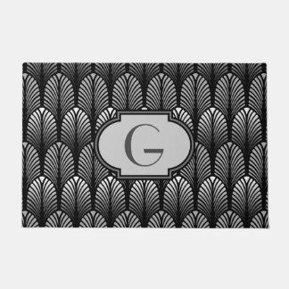 Paillasson Plume stylisée d'art déco, gris argenté et noir