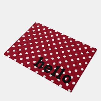 Paillasson Point de polka noir et blanc rouge