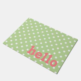 Paillasson Point de polka rose et blanc de corail vert en bon