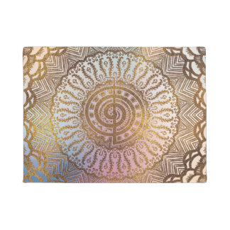 Paillasson Symbole doux de Choku Rei de pastel et d'or dans