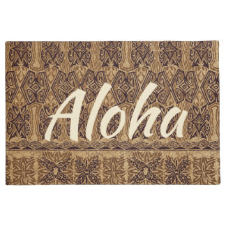 Paillasson Tapa primitif hawaïen Aloha Brown de plage de