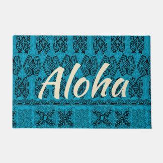 Paillasson Tapa primitif hawaïen Aloha Teal de plage de Haena