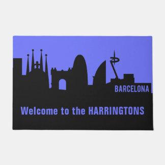 Paillasson Texte de points de repère de Barcelone et natte