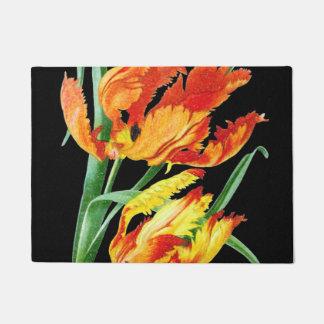Paillasson Tulipes de perroquet sur le dessin noir