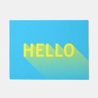 Paillasson Typographie bleue et jaune vibrante moderne de