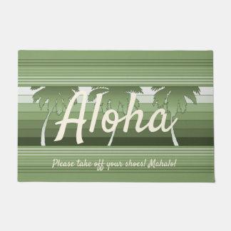 Paillasson Vert barré par paumes hawaïennes de Hilo Aloha