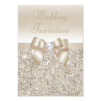 Paillettes, arc et diamant de Champagne de mariage Carton D'invitation 12,7 Cm X 17,78 Cm