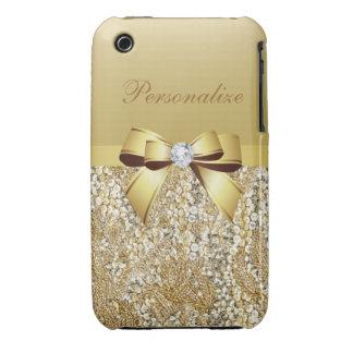 Paillettes arc et diamant imprimés d or coque iPhone 3