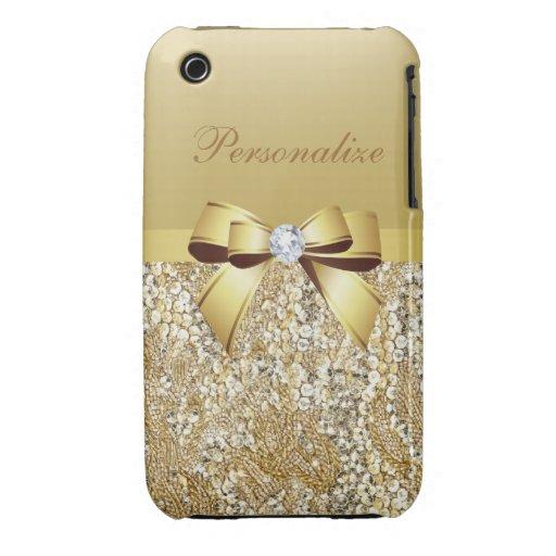 Paillettes, arc et diamant imprimés d'or coque iPhone 3