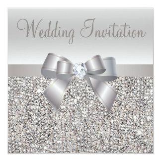 Paillettes, arc et invitations argentés de noces carton d'invitation  13,33 cm