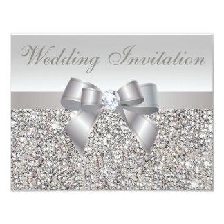 Paillettes, arc et noces de diamant argentés carton d'invitation 10,79 cm x 13,97 cm