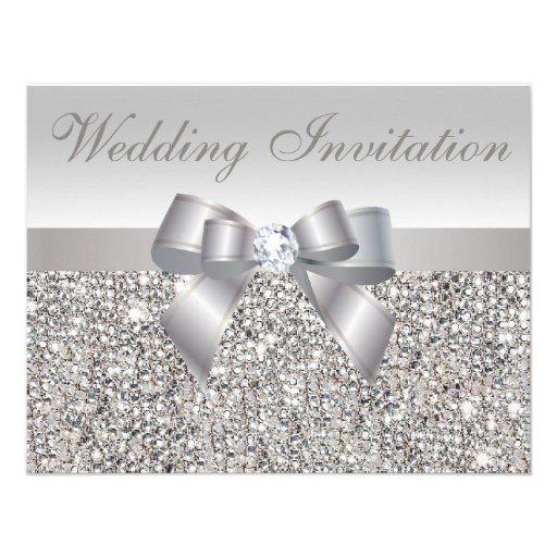 Paillettes, arc et noces de diamant argentés invitations personnalisées