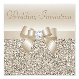 Paillettes, arc et noces de diamant de Champagne Carton D'invitation 13,33 Cm