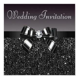 Paillettes, arc et noces de diamant noirs imprimés carton d'invitation  13,33 cm