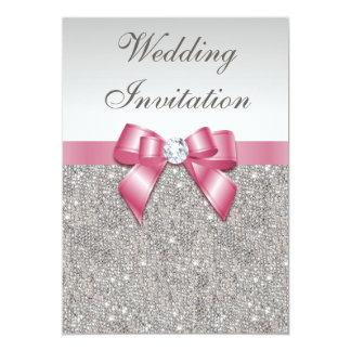 Paillettes argentées imprimées et mariage rose carton d'invitation  12,7 cm x 17,78 cm