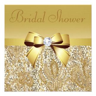 Paillettes d or arc et douche nuptiale de diamant carton d'invitation
