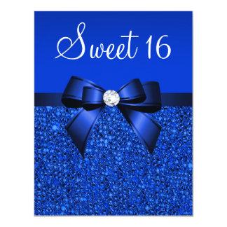 Paillettes de bleu royal, arc et bonbon imprimés carton d'invitation 10,79 cm x 13,97 cm