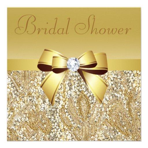 Paillettes d'or, arc et douche nuptiale de diamant carton d'invitation