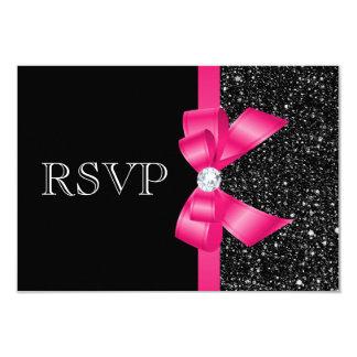 Paillettes et arc noirs imprimés RSVP de roses Carton D'invitation 8,89 Cm X 12,70 Cm