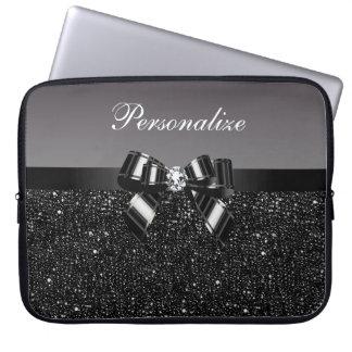 Paillettes imprimées, arc et diamant noirs et trousses pour ordinateur portable