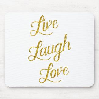 Paillettes métalliques de rire d'amour d'or de tapis de souris
