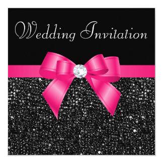 Paillettes noires imprimées et mariage d'arc de invitations personnalisées