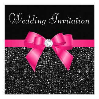 Paillettes noires imprimées et mariage d'arc de ro invitations personnalisées