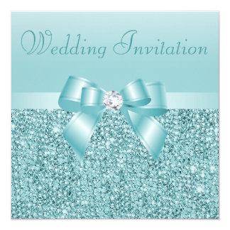 Paillettes turquoises, arc et noces de diamant carton d'invitation  13,33 cm