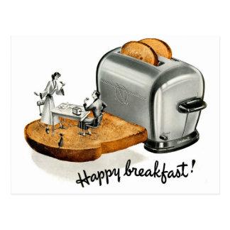 Pain grillé vintage 'Breakfast heureux de petit Carte Postale