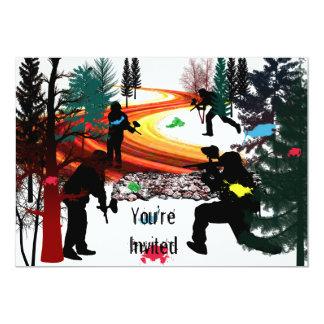 Paintball d'hiver dans les bois carton d'invitation  12,7 cm x 17,78 cm