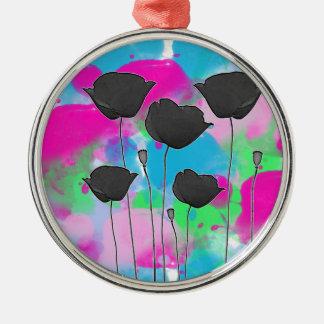 painting poppy ornement rond argenté