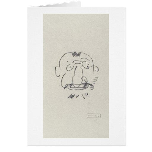 Pair Lui-Meme (crayon de Lautrec de charge sur le  Carte De Vœux