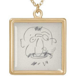 Pair Lui-Meme (crayon de Lautrec de charge sur le  Collier Plaqué Or