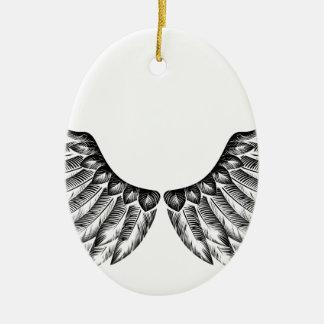 Paires d'ailes d'oiseau ornement ovale en céramique
