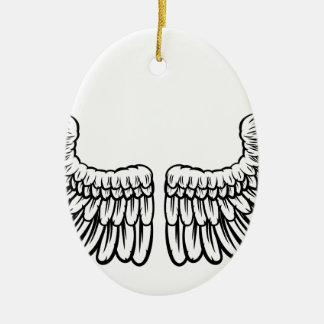 Paires d'ailes gravées à l'eau-forte ornement ovale en céramique