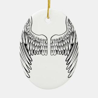 Paires d'ange ou d'ailes d'Eagle Ornement Ovale En Céramique