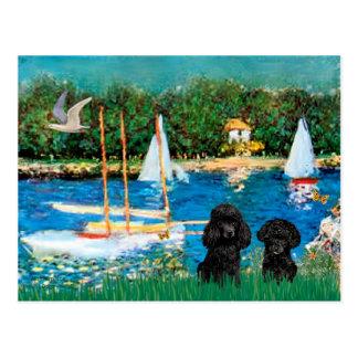 Paires de caniche (noir) - voiliers carte postale