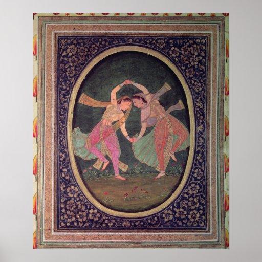 Paires de filles de danse exécutant un Kathak Posters